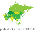 Political map of Asia continent in shades of green 38104016