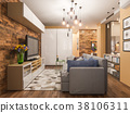 3d illustration living room interior design 38106311