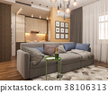 3d illustration living room interior design 38106313