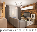 3d illustration living room interior design 38106314