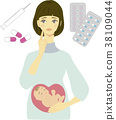 Pregnant woman and medicine image illustration 2 38109044