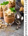 Layered chocolate chia pudding parfait with banana 38111219