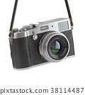 Hanging vintage retro photo camera isolated  38114487
