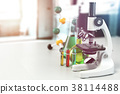 Microscope with lab glassware, flasks and colbs 38114488