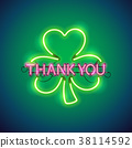 Thank You with Clover Neon Sign 38114592