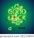 Good Luck Patricks Day Neon Sign 38114604