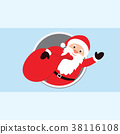 Santa Claus Cartoon Character with a raised right  38116108