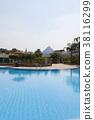 游泳池有金字塔視圖 38116299