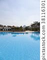 游泳池有金字塔視圖 38116301