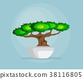 little bonsai tree in bowl flat design 38116805
