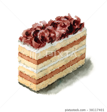 Opera chocolate cake painted by watercolor 38117401