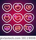 Glowing Neon Valentine Hearts Sticker with Stroke 38119006