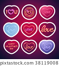 Glowing Neon Valentine Signs Sticker Pack with 38119008