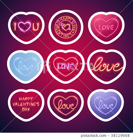 Glowing Neon Valentine Signs Sticker Pack With Stock Illustration