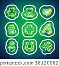 Glowing Neon Patricks Sticker Pack with Stroke 38120062