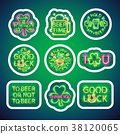 Glowing Neon Patricks Signs Sticker Pack with 38120065