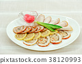 sliced delicious meat rolls on a white plate  38120993