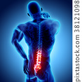 3D Illustration of sacral spine painful. 38121098