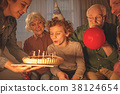 Cheerful child having family party 38124654