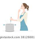 요리를하고있는 젊은 여성의 일러스트 38126681