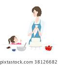 케이크를 함께 만들고있는 부모와 자식의 일러스트 38126682
