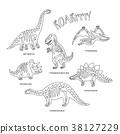 dinosaur, vector, bone 38127229