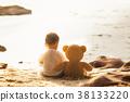 熊 海灘 坐 38133220
