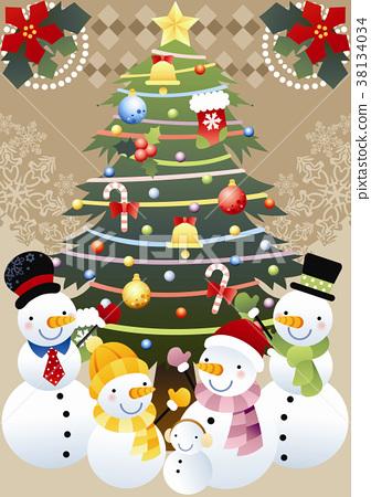 耶誕節 雪人 冬天 38134034