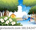 여자, 꽃, 여름 38134247