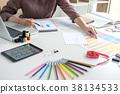 Stylish fashion designer working as fashion designers measure as 38134533