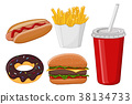 Fast food. Colored cartoon drawing 38134733