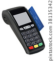 Pos terminal with card isolated. Vector 38135342