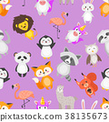 seamless pattern with cute animals 38135673