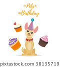 Dog Birthday party greeting card 38135719