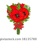 Big bunch of red poppy flowers tied with ribbon 38135789