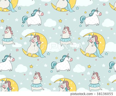 Cute  unicorn seamless pattern. Cartoon  38136055