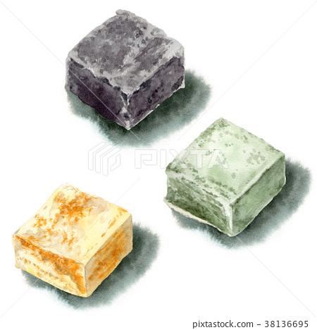 日本甜点画与水彩/ 3种颜色 38136695