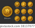 Golden cryptocurrency coin icon sets 38137077