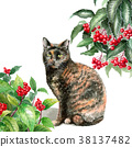 Pink and green cats painted by watercolor 38137482