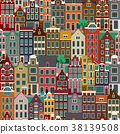 City streets with old buildings, seamless pattern 38139508