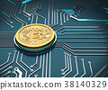 Bitcoin Concept, Golden Coin on a circuit board. 38140329