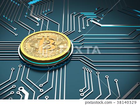 Bitcoin Concept, Golden Coin on a circuit board. 38140329