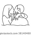 Young couple kissing on the lips vector 38140460