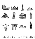 set of travel landmarks around the world  38140463