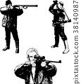 hunters sketch set - illustration 38140987