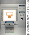 ATm machine with banknotes in the money slot 38141906