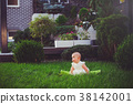 baby, grass, sitting 38142001