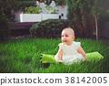 baby, grass, sitting 38142005