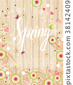 Design banner with spring is here logo 38142409