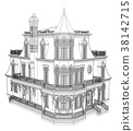 Old house in Victorian style. Illustration on 38142715